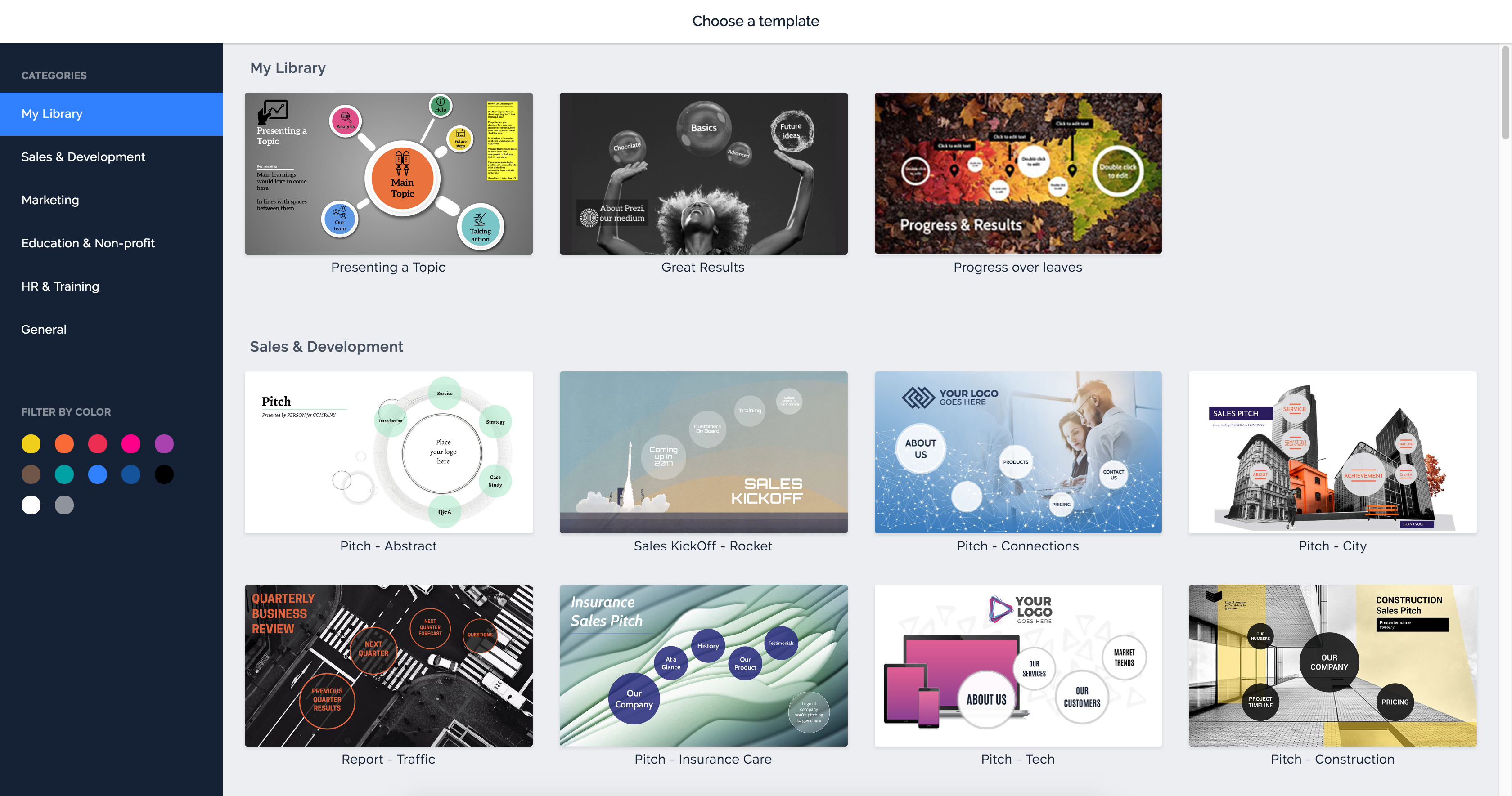 using templates prezi support center